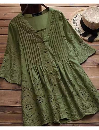 billige Topper til damer-V-hals Skjorte Dame - Ensfarget Dusty Rose Hvit