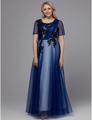 voordelige Grote maten jurken-A-lijn Met sieraad Tot de grond Tule Schoolfeest Jurk met Appliqués door TS Couture®