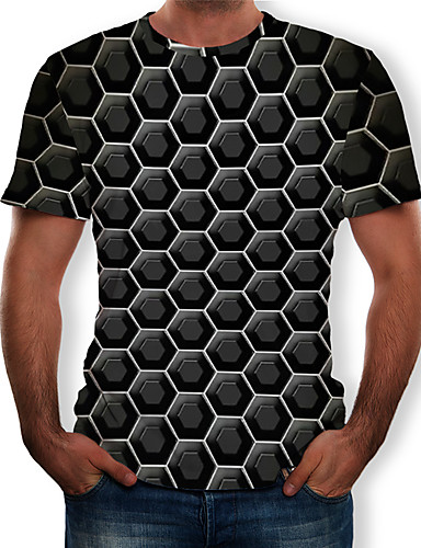 cheap Men's Clothing-Men's EU / US Size T-shirt - 3D Print Round Neck Black XL