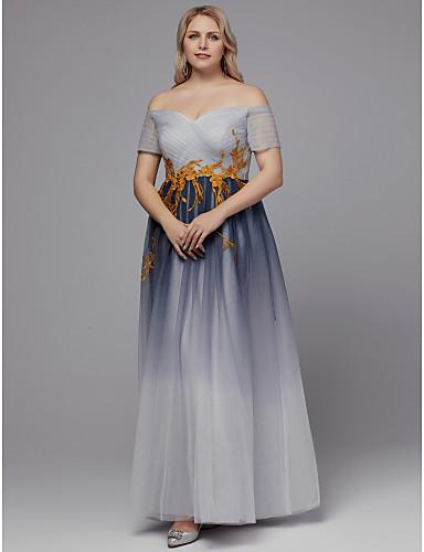 voordelige Grote maten jurken-A-lijn Schouderafhangend Tot de grond Tule Formele avonden Jurk met Appliqués door TS Couture®