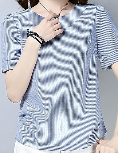 billige Dametopper-Bomull Tynn T-skjorte Dame - Stripet, Lapper Blå