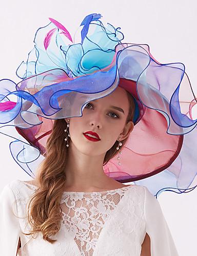 abordables Chapeau & coiffure-Organza / Plumes Kentucky Derby Hat / Fascinators / Coiffe avec Plume / Fleur / Etagée 1 Pièce Mariage / De plein air Casque