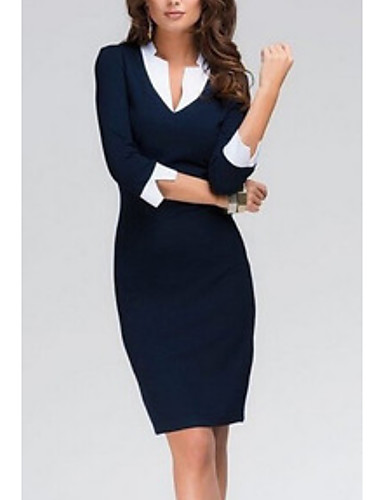 abordables Robes Femme-Femme Mi-long Moulante Robe Bleu L XL XXL Manches 3/4