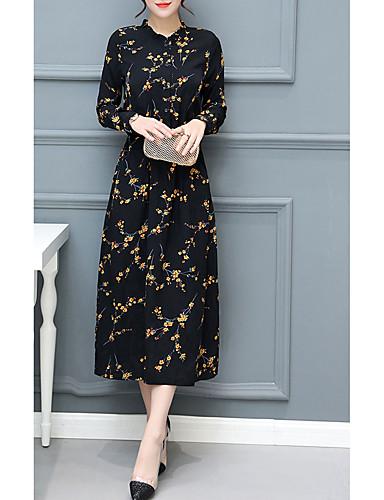 Dame Grunnleggende Elegant A-linje Kjole - Blomstret, Blondér Maksi