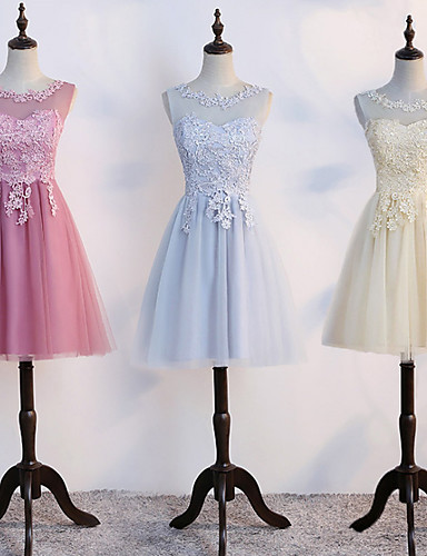 cheap Bridesmaid Dresses-A-Line Illusion Neck Short / Mini Tulle Bridesmaid Dress with Lace by LAN TING Express