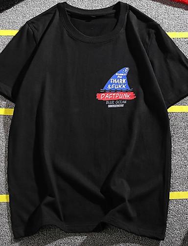 男性用 プラスサイズ Tシャツ ラウンドネック ソリッド ブラック XXXL