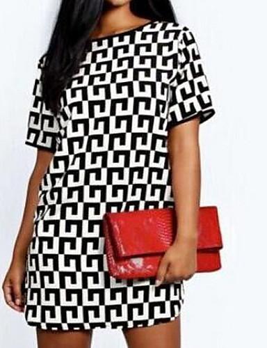 billige Kjoler-Dame Skjorte Kjole - Geometrisk, Trykt mønster Knelang