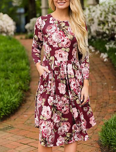 رخيصةأون فساتين للنساء-فستان نسائي كلاسيكي عصري بوهو طباعة طول الركبة ورد