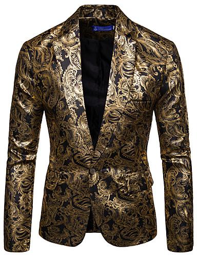 ราคาถูก เสื้อคลุมบุรุษ-สำหรับผู้ชาย เสื้อคลุมสุภาพ, ลายดอกไม้ คอเสื้อเชิ้ต ฝ้าย / สังเคราะห์ สีดำ / ไวน์ / สีน้ำเงินกรมท่า XL / XXL / XXXL