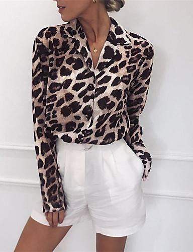 povoljno Ženske majice-Bluza Žene - Ulični šik Dnevni Nosite / Ulica Pamuk Leopard Kragna košulje Kolaž Crno-bijela / Crno i sivo Svjetlosmeđ