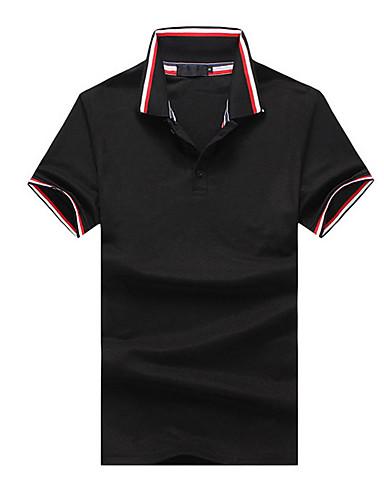 Pánské - Proužky Tričko, Patchwork Štíhlý Černá L