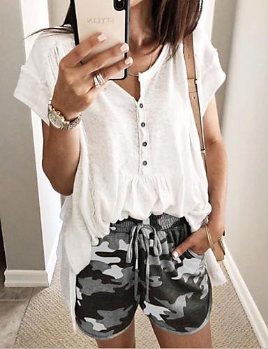 abordables Pantalons Femme-Femme Basique Grandes Tailles Mince Short Pantalon - Motif Taille basse Gris Violet Vert Véronèse XXXL XXXXL XXXXXL