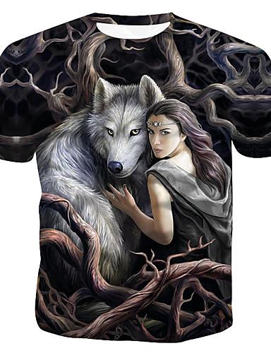 voordelige Heren T-shirts & tanktops-Heren Print T-shirt Katoen dier / Portret Ronde hals Regenboog