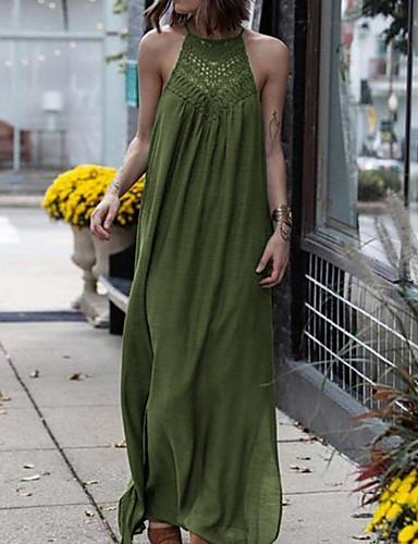 abordables Robes Femme-Femme Vacances Plage Maxi Tunique Abaya Robe - Dentelle Mousseline de Soie Licou Vert Noir Rouge XL XXL XXXL Dentelle Sans Manches
