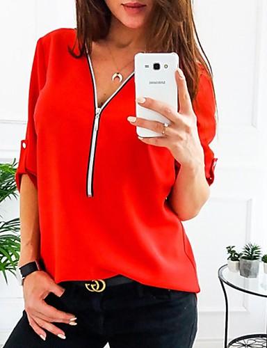 povoljno Majica-Veći konfekcijski brojevi Majica Žene Jednobojni V izrez Red