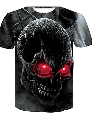 Miesten Pyöreä kaula-aukko Painettu Pääkallot Pluskoko - T-paita Musta