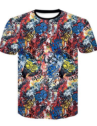 Χαμηλού Κόστους Αντρικές Μπλούζες-Ανδρικά T-shirt Συνδυασμός Χρωμάτων / Κινούμενα σχέδια Στάμπα