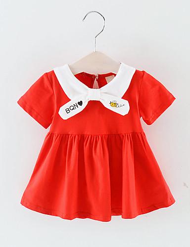 Dítě Dívčí Základní Jednobarevné Krátký rukáv Nad kolena Polyester Šaty Rubínově červená