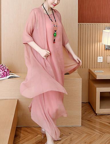 6002abea8 فستان نسائي على شكل تيشيرت متموج قميص شيفون موضة طويل للأرض فضفاض