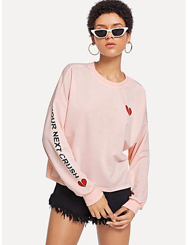 abordables Hauts pour Femmes-Femme Actif / Le style mignon Sweatshirt Cœur / Lettre