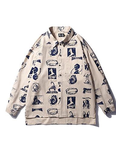 Pánské - Grafika Košile Bavlna Klasický límeček Štíhlý Bílá L