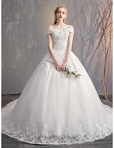 f32952463 Salón Hombros Caídos Capilla Tul   Encaje sobre satén Vestidos de novia  hechos a medida con Cuentas   Apliques   Detalles de Cristal por LAN TING  Express