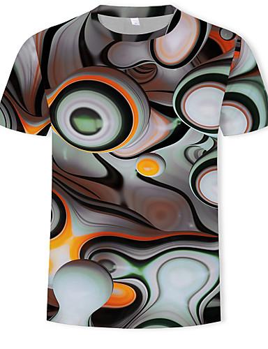 voordelige Best verkocht-Heren Print T-shirt Katoen 3D Ronde hals Regenboog XL