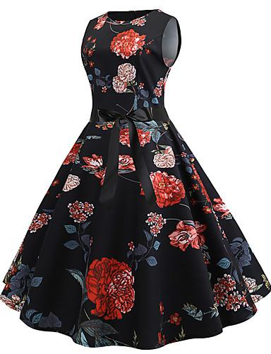 A-Linie Schmuck Knie-Länge Jersey Kleid mit Muster / Druck durch LAN TING Express
