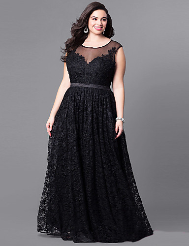 bd840a2e0b Women's Sophisticated Elegant Swing Dress - Solid Colored Lace Embroidered  Lace Trims Black XXL XXXL XXXXL