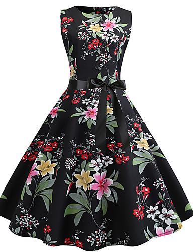 f0eabaee0677 Per donna Vintage Nero Swing Vestito - Con fiocco Con stampe