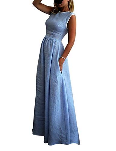 voordelige Maxi-jurken-Dames Standaard Wijd uitlopend Jurk - Effen, Patchwork  Maxi