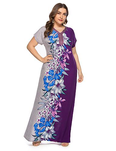 voordelige Grote maten jurken-Dames Vintage Elegant Recht Jurk - Bloemen, Print Maxi