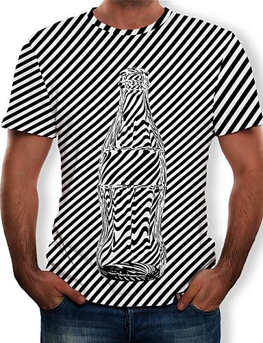 cheap Men's Tees & Tank Tops-Men's T-shirt - Striped / 3D Print Round Neck White US36
