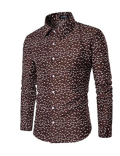 voordelige Herenoverhemden-Heren Print Grote maten - Overhemd Polka dot Bruin