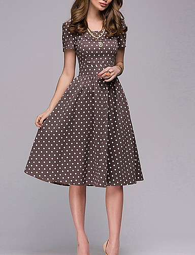 db0de145048c Women's Going out Vintage 1950s Slim A Line Dress - Polka Dot Print Summer  Brown L XL XXL