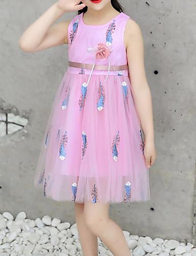 子供 / 幼児 女の子 活発的 / 甘い フラワー リボン / メッシュ / 刺繍 ノースリーブ 膝丈 コットン / ポリエステル ドレス ホワイト