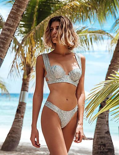 8943d1a33 Mujer Básico Verde Claro Halter Pícaro Bikini Bañadores - Tribal Espalda al  Aire S M L Verde Claro