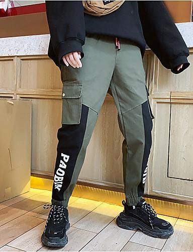 男性用 ストリートファッション チノパン パンツ - レタード ブラック