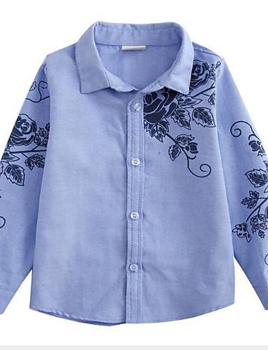 Bambino Da Ragazzo Attivo - Moda Città Quotidiano - Per Uscire Fantasia Floreale Con Stampe Manica Lunga Standard Rayon Camicia Blu #07149116