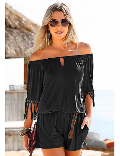 cheap Women's Jumpsuits & Rompers-Women's Holiday / Going out / Beach Black Red Army Green Pencil Romper, Solid Colored Tassel L XL XXL