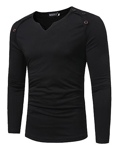 T-shirt Per uomo Tinta unita A V Bianco XL