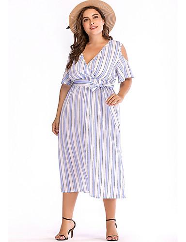 Amichevole Per Donna Elegante Linea A Vestito A Strisce Medio #07186655 Pacchetti Alla Moda E Attraenti