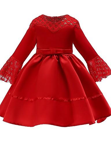 Παιδιά Κοριτσίστικα Βασικό / χαριτωμένο στυλ Φλοράλ Δαντέλα / Φιόγκος 3/4 Μήκος Μανικιού Ως το Γόνατο Βαμβάκι Φόρεμα Πράσινο του τριφυλλιού