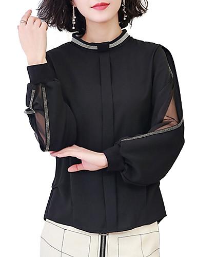 Blusa Per donna Monocolore Cotone Nero XL
