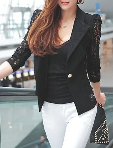 ราคาถูก ชุดและเสื้อสำหรับสุภาพสตรี-สำหรับผู้หญิง เสื้อคลุมสุภาพ ปกคอแบะของเสื้อแบบผ้าคลุม เส้นใยสังเคราะห์ ขาว / สีดำ L / XL / XXXXL / เพรียวบาง