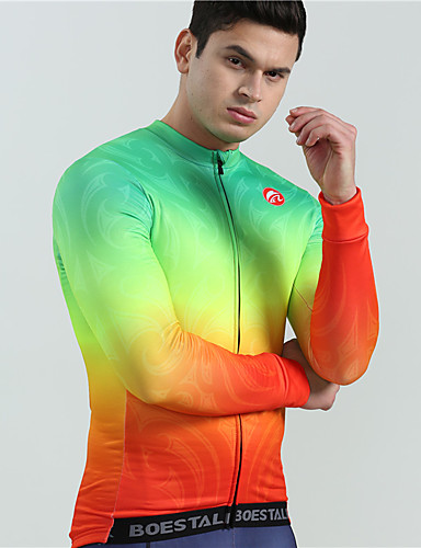 cheap Cycling Clothing-BOESTALK Men's Long Sleeve Cycling Jersey - Green Rainbow Gradient Bike Jersey Top Thermal / Warm Breathable Back Pocket Sports Winter Fleece Wool Fabric Mountain Bike MTB Road Bike Cycling Clothing