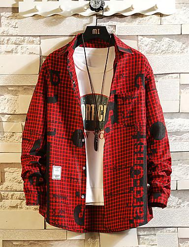 男性用 プラスサイズ シャツ スタンドカラー スリム グラフィック ブラック XXXL