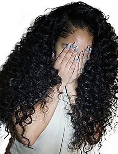 billige Blondeparykker med menneskehår-Ekte hår Blonde Forside Parykk Deep Parting Side del stil Brasiliansk hår Deep Curly Naturlig Parykk 250% Hair Tetthet med baby hår Gave Hot Salg Bekvem Dame Lang Blondeparykker med menneskehår Dolago