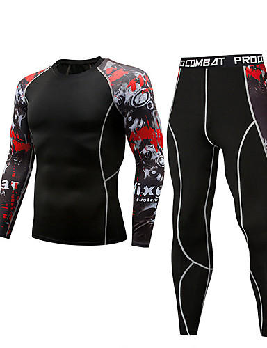 cheap Cycling Clothing-Men's Compression Suit Thermal Underwear Set Long Sleeve Compression Base layer Pants T Shirt Plus Size Lightweight Breathable Quick Dry Soft Sweat-wicking Black+Sliver Black / Yellow Camouflage