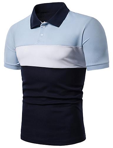 voordelige Herenpolo's-Heren Standaard / Elegant Polo Katoen Kleurenblok Overhemdkraag Rood / Lange mouw